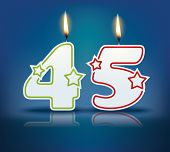Birthday candle number 45 with flame - eps 10 vector illustration
