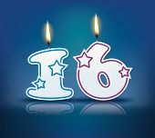Birthday candle number 16 with flame - eps 10 vector illustration