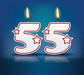 Birthday candle number 55 with flame - eps 10 vector illustration