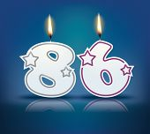 Birthday candle number 86 with flame - eps 10 vector illustration