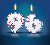 Birthday candle number 96 with flame - eps 10 vector illustration