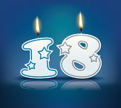 Birthday candle number 18 with flame - eps 10 vector illustration