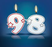 Birthday candle number 98 with flame - eps 10 vector illustration