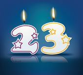 image of candle flame  - Birthday candle number 23 with flame  - JPG