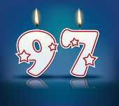 Birthday candle number 97 with flame - eps 10 vector illustration