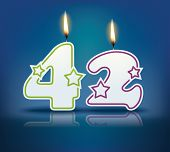 Birthday candle number 42 with flame - eps 10 vector illustration
