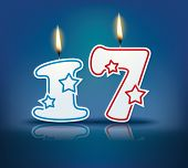 Birthday candle number 17 with flame - eps 10 vector illustration