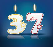 Birthday candle number 37 with flame - eps 10 vector illustration
