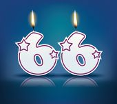 Birthday candle number 66 with flame - eps 10 vector illustration