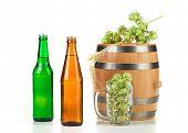 Barrel mug with hops and beer