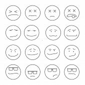 pic of emoticons  - Set of 16 emoticons or smileys each with a different facial expression and emotion - JPG