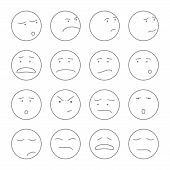 set of cute smiley faces with expressions outline