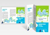 Brochure, Booklet Z-fold Layout. Editable Design Template. Eps10 Vector, Transparencies Used