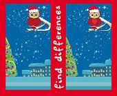 stock photo of snow owl  - Winter card with cute owl find the differences  - JPG