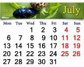 Calendar For July Of 2015 With Blue Beetles