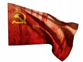 picture of communist symbol  - 3d rendering of an old soviet flag on a white background - JPG