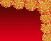 Pattern From Brown Flowers On Red Background