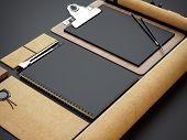 Set Of Craft Mockups On Black Paper Background