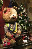 Funny Christmas Teddy Bear Sitting In Shop Window