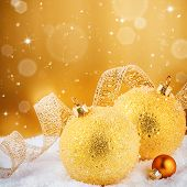 Christmas Ornaments In Golden Tone
