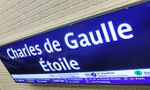 Charles De Gaulle - Etoile Subway Station Sign In Paris