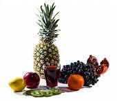 Fruits And Fruit Juice Isolated On White Background