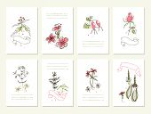 Hand drawn collection of romantic floral invitations.   Wedding, marriage, bridal, birthday, Valenti
