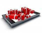 3D rendering of red and white presents on top of a smart phone