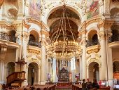 Interior Of Baroque Church Of St. Nicholas - Old Town Square In Prague, Czech Republic.