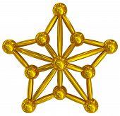 Christmas Star Golden 3D Isolated