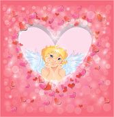 Cute Angel In The Heart Shape Frame Edged Of Red Paper Hearts Confetti And Lights. Valentines Day Ca