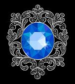 pic of brooch  - Vintage brooch with a sapphire in a silver frame - JPG