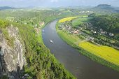 Panoramic view to Saxon Switzerland from Bastei, Rathen, Germany.
