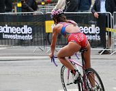 Maria Ortega Cycling In The Triathlon Event