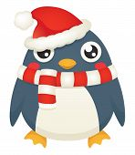 stock photo of santa baby  - Illustration of a cute cartoon penguin wearing a santa hat and candy striped scarf - JPG