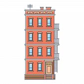 vector illustration - new york united states red brick old building with stairs isolated vintage