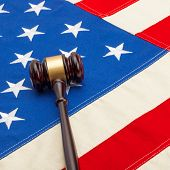 Wooden Judge Gavel Over Usa Flag - Closeup Shoot