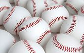 Group of Baseballs with no logos on white background