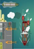 Cargo ship going to port. Vector illustration.