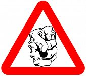 pointing hand attention sign