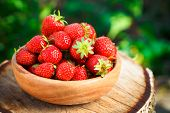 picture of dessert plate  - Strawberries - JPG