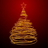 Christmas Tree Made Of Gold Wire. Red Background.