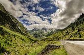 Road Trough The Pyrenees Mountains