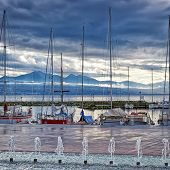 Quay Of Geneva Lake In Lausanne
