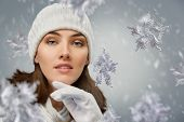 beauty girl on the winter background