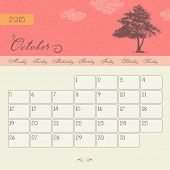 Calendar for October 2015 starting Monday, vector calendar set