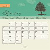 Calendar for September 2015 starting Monday, vector calendar set