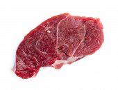 stock photo of flank steak  - Macro closeup of single uncooked raw beef steak - JPG