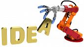 Robot arm holding letter in Idea word for automation technology