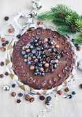 Chocolate Cake Decorated With Fresh Berries